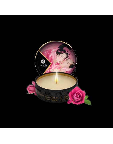 Mini bougie de massage  Aphrodisia - Pétales de rose
