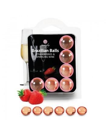 6 Brazilian Balls Fraise et Champagne 3386-2
