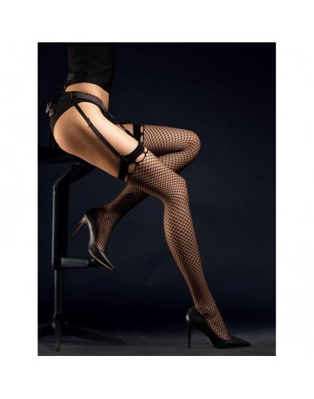 burlesque bas résille 30 den  noir pin-up fantaisie  fiore