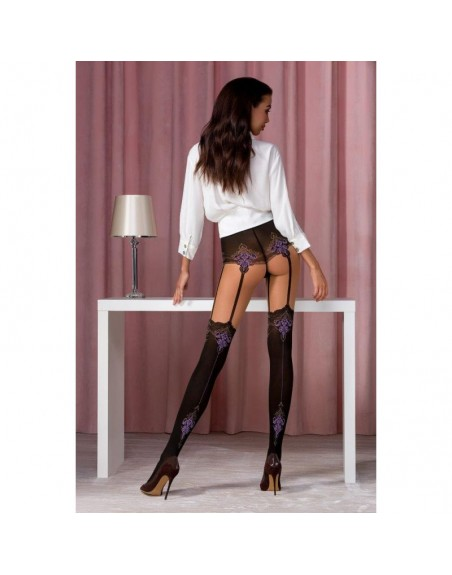 TI112 Collants 20 DEN - Noir et Violet