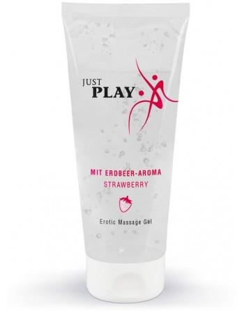 Gel de Massage Saveur Fraise Just Play - 200 ml- l'avenue des plaisirs