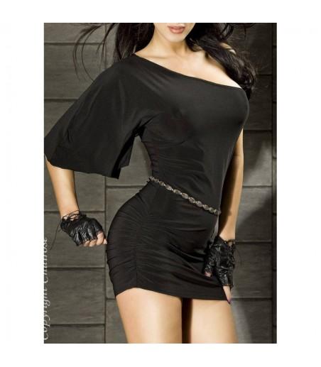 Robe courte - Noire chilirose- l'avenue des plaisirs