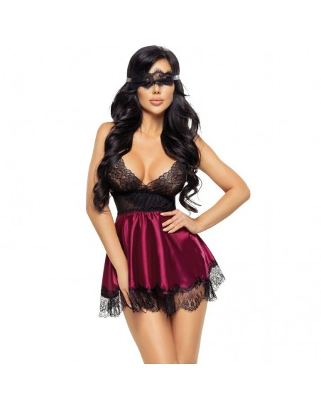 Beauty Night ensemble 2 pièces babydoll grenat masque eve