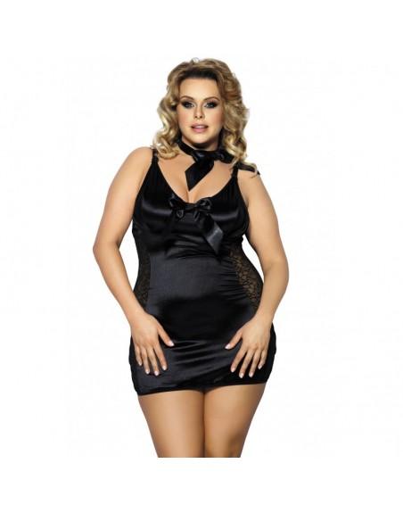 lingerie grande taille : nuisette kernie satin dentelle anais- l'avenue des plaisirs