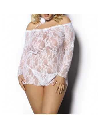 Cobayo anais lingerie : nuisette blanche courte  sexy dentelle col large