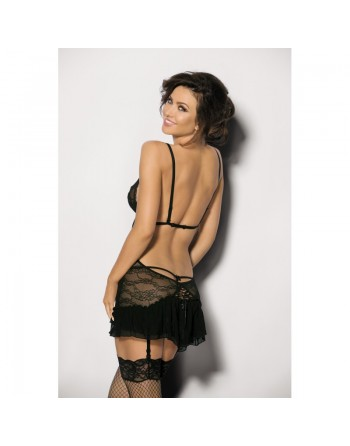 angel never sin finaci lingerie  : nuisette noire dos nu avec jarretelles string