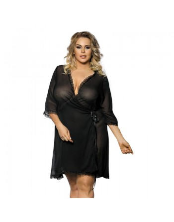 Islla Anais peignoir noir et tissu délicat sexy  grande taille