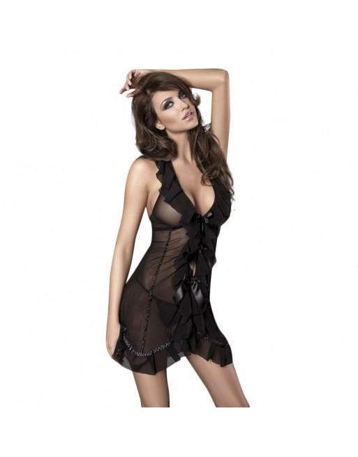 lingerie sexy anais nuisette noire fine resille ruban satin seduce me