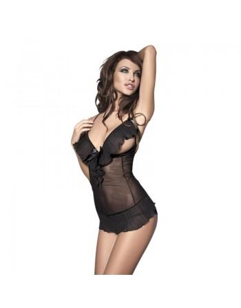 lingerie ouverte sexy  anais   : nuisette noire dos mi-nu caprice S/XXXL