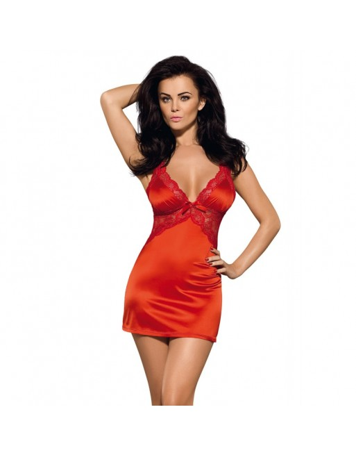 lingerie sexy  marque obsessive  nuisettes et baydolls : secred chemise rouge satin