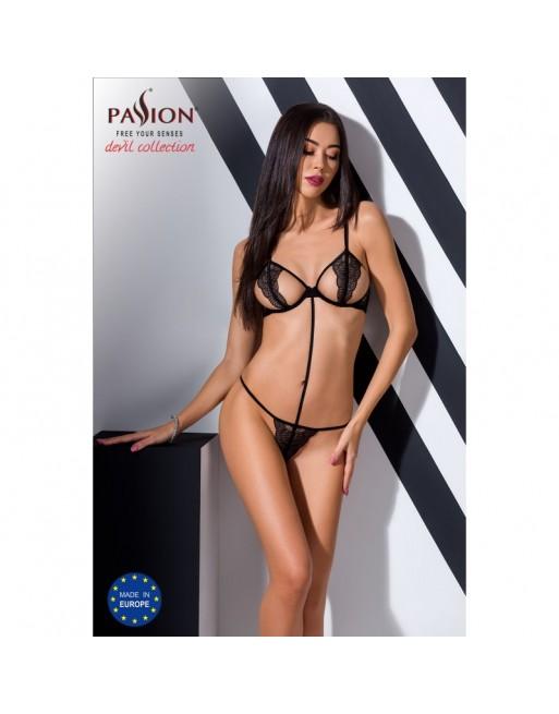 body ajouré quentris noir de la marque de lingerie sexy passion- l'avenue des plaisirs