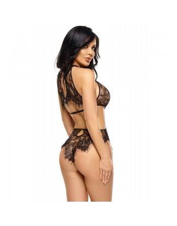 lingerie beauty night jordana body noir très tentant en dentelle et satin- l'avenue des plaisirs