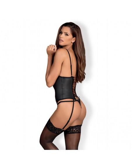 obsessive : corset noir laluna guêpière illusion d'optique- l'avenue des plaisirs