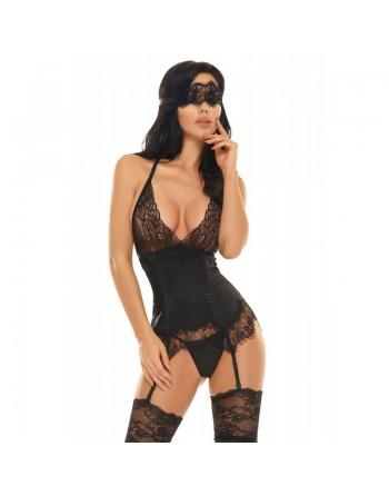 beauty night  eve guepiere masque  noire satin dentelle- l'avenue des paradis