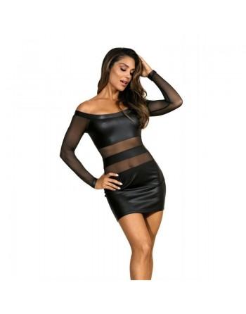 axami : v9309 robe  noir microfibre- l'avenue des plaisirs