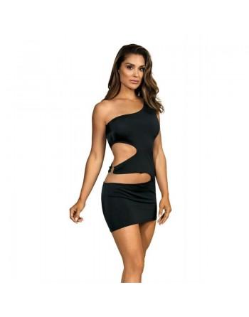 axami : v9239 robe sexy  noir microfibre anneau argent - l'avenue des plaisirs