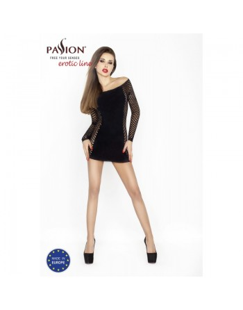 robe noire moulante resille et sexy bs025 de la marque passion lingerie - l'avenue des plaisirs