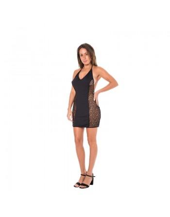 lingerie look me dress robe sexy décollete dos nu et résille  noire