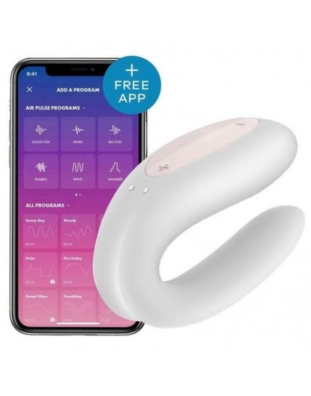 Stimulateur connecté pour couple Satisfyer Double Joy - Blanc