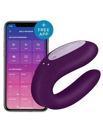 Stimulateur connecté pour couple Satisfyer Double Joy - Violet